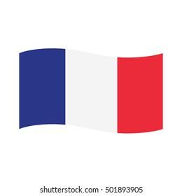 Vector illustration france waving flag flat icon.