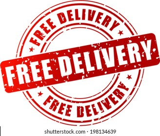 Vector illustration of free delivery stamp on white background