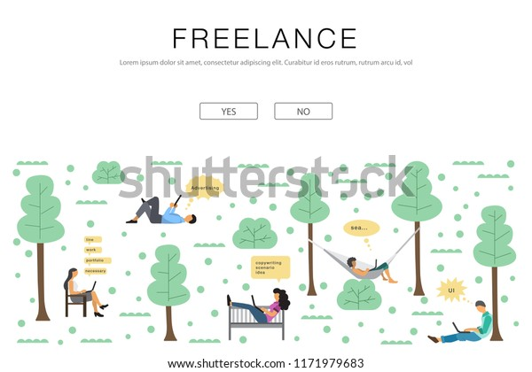 Vector Illustration Freelancer Girl Man Notebooks Stock