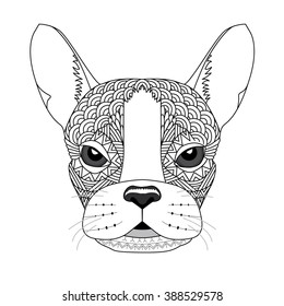 Vector illustration of French Bulldog for coloring page, tattoo, poster, t-shirt. Zentangle stylized artwork of the dog.