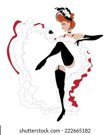 Vector illustration of a French cancan dancer