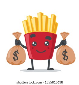 vector illustration of French fries character or mascot, cute and adorable, bring sack of money