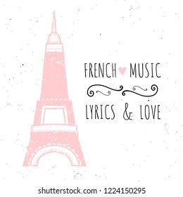 Vector Illustration French Music Lyrics Love Stock Vector Royalty