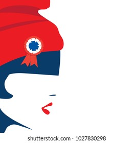Vector illustration for French National Day or The Fourteenth of July, also called Bastille Day: The national symbol of France and French revolution Marianne and a space for copy or text.