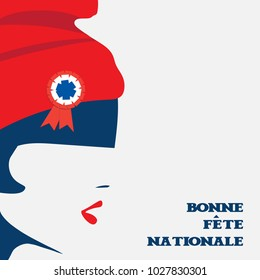 Vector illustration for French National Day or The Fourteenth of July, also called Bastille Day. The symbol of France and revolution Marianne and text in French: Happy National Day.