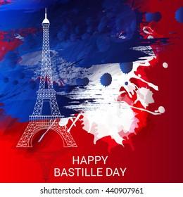 Vector illustration of French National Day, July 14, Bastille Day.