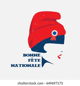 "Vector illustration for the French National Day also known as Bastille Day or 14th of July. Marianne, symbol of France and text in French ""Happy National Day"". Made in a vintage grunge poster style."