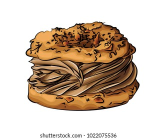 A vector illustration of french pastry filled with caramel cream and sprinkled with almond pieces, isolated on a white background