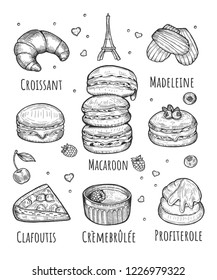Vector illustration of a French pastry set. Cookies and cakes. Croissant, macaroon, madeleine, clafoutis, creme brulee, profiterole.