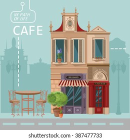 Vector illustration of French village street scene with cafe