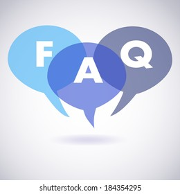 Vector illustration of frequently asked questions, or FAQ, talk bubbles.