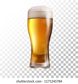 vector illustration with fresh beer on transparent background