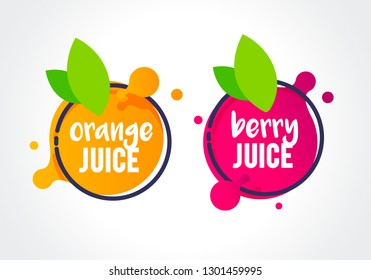Vector Illustration fresh berry and orange fruit label icon. healthy juice design sticker.