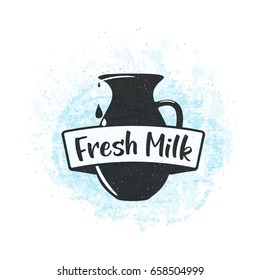 Vector illustration of fresh dairy milk background with drop and splash liquid, text sign, bottle, jug, grunge vintage texture