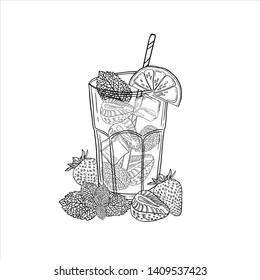 Vector illustration of fresh drink strawberry mojito. Alcoholic cocktail mojito