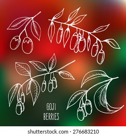 Vector illustration of fresh Goji Berries (Wolfberries) with leaves on blurred background. Hand drawn sketch of goji berries. Health and nature