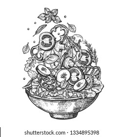 Vector illustration of fresh healthy salad bowl set. Dish with sliced tomatoes, mushrooms, zucchini, onion rings and sweet pepper, potions and lettuce. Vintage hand drawn style.