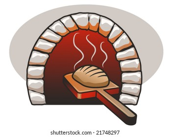 vector illustration of a fresh loaf of bread and a bread oven