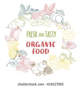 Vector illustration Fresh organic spring summer fruits and vegetables frame. Contour design on white background. Vegetarian menu, market flyer