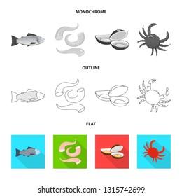 Vector illustration of fresh  and restaurant symbol. Set of fresh  and marine   stock vector illustration.