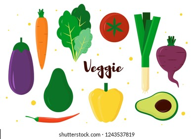 Vector illustration with fresh vegetables, modern style, with text Veggie