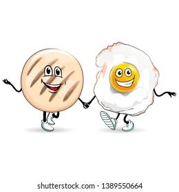 Vector illustration of fried egg with arepa. Venezuelan food Cartoons