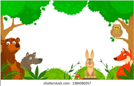 Vector illustration of  friendly rebbit, fox, bear, wolf and owl in the summer forest with wild herbs and  fly agaric