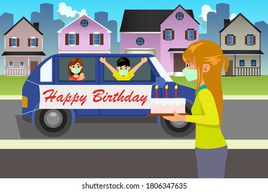 A vector illustration of Friends Celebrating Birthday During Pandemic with drive by.
