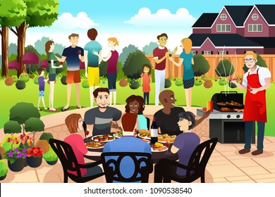 A vector illustration of Friends and Family Gather Together Having BBQ Party in the Summer