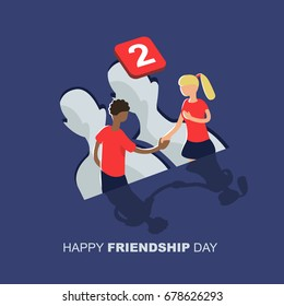 Vector illustration of friends from social networks. Happy Friendship Day greeting card with boy and girl.