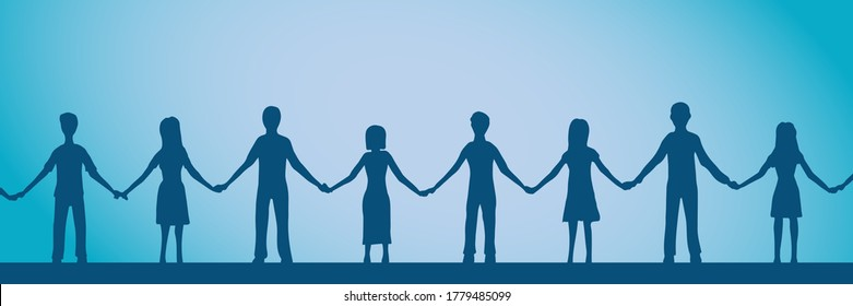 Vector illustration of friendship. Chain of people holding hands.