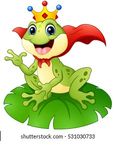 Vector illustration of Frog prince cartoon on water lily leaf