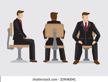Vector illustration front, back and side view of business professional wearing formal three-piece suit sitting on office swivel chair isolated on plain background.