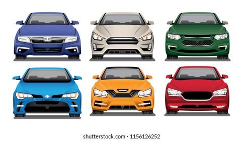 Vector illustration of the front ends of several modern sedans.