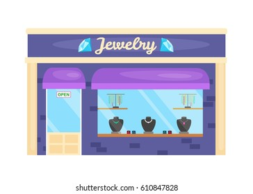Vector illustration  of front facade buildings jewelry store. Abstract image in a flat design.