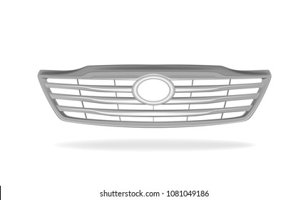 Vector illustration of the front of grille car on white background.
