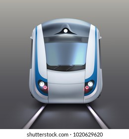 Vector illustration of front wagon of an electric train or subway. Isolated on gray background, front view