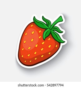 Vector illustration. Fruit sweet strawberry. Cartoon funny sticker in comic style with contour. Decoration for greeting cards, posters, patches and prints for clothes, flyers, emblems