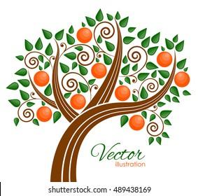 Vector illustration of fruit tree