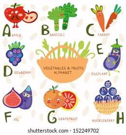 Vector illustration of fruit and vegetables. A, b, c, d, e, f ,g,h letters. Apple, broccoli, carrots,dewberry,eggplant, figs, grapefruit,	 huckleberry. Alphabet design in a colorful style.