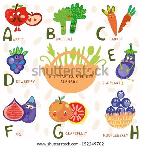 Vector Illustration Fruit Vegetables A B Stock Vector (Royalty