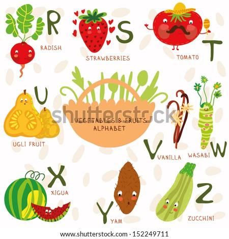 vector illustration fruit vegetables a b stock vector (royalty free