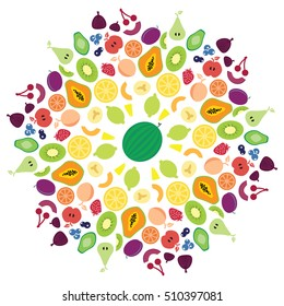 vector illustration for fruits radial concentric ornament in circle shape of mandala for healthy nutrition concepts