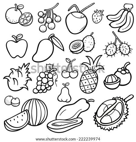 Vector Illustration Fruits Set Coloring Book Stock Vector (Royalty ...