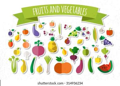 Colorful Fruits Vegetables Clipart Set Fruit Stock Vektorgrafik