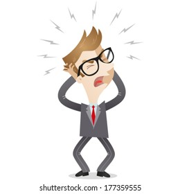 Vector illustration of a frustrated cartoon businessman screaming and tearing his hair
