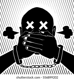 Vector illustration of a frustrated man in a handcuff being censored for the concept: clamping down on dissent.
