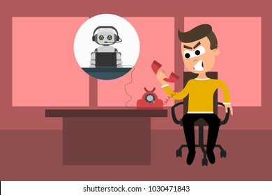 Vector illustration of frustrated man talking on phone with responding machine. Angry of talking to a robot instead of a human concept