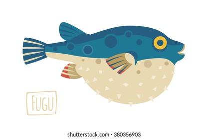 Vector illustration of a Fugu (pufferfish), cartoon style