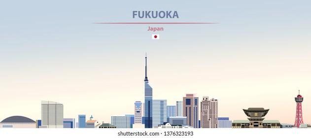 Vector illustration of Fukuoka city skyline on colorful gradient beautiful daytime background